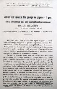 R. Pellegrini, Contributo alla conoscenza della patologia del prigioniero di guerra, saggio contenuto in: